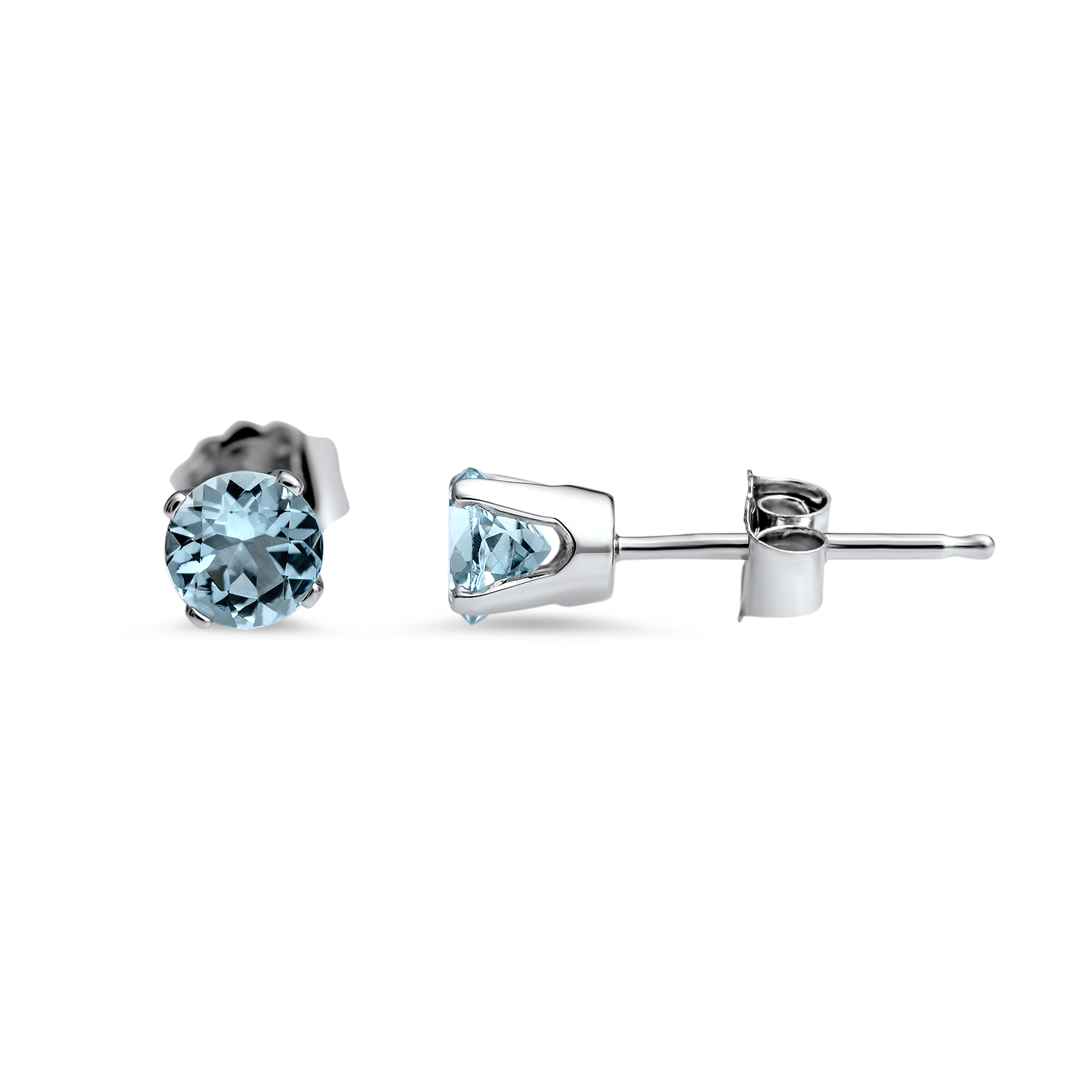 14k White Gold 4 mm Aquamarine Stud Earrings